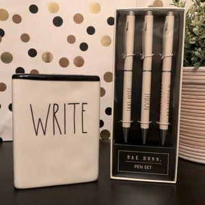 Rae Dunn ceramic WRITE pencil holder and Pens